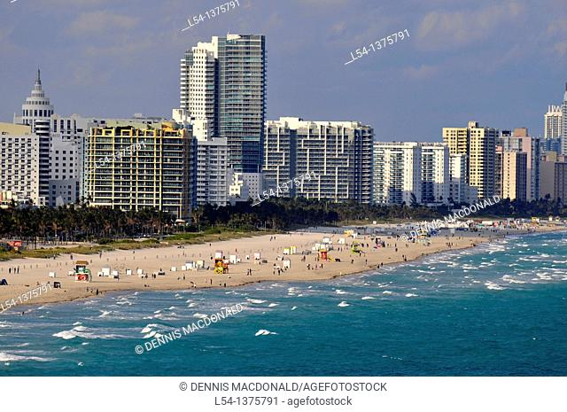 Views of Miami Beach Florida from cruise ship departing harbor