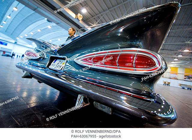 A 1959 Chevrolet Impala can be seen during a photo shoot for the Essen Motor Show in Essen,Germany, 28 October 2015. The Essen Motor Show takes place from 28...
