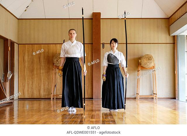 Multi-ethnic traditional Kyudo Japanese archery athletes