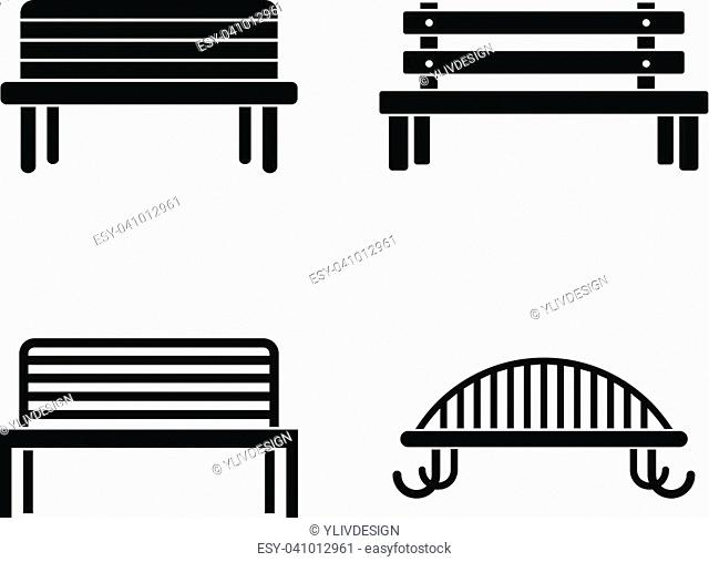 Bench icon set. Simple set of bench vector icons for web design isolated on white background
