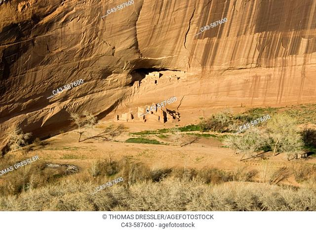 The White House Ruin in the Canyon de Chelly is sqeezed into a tiny recess at the bottom of a majestic cliff. These cliff dwellings of the Anasazi civilization...