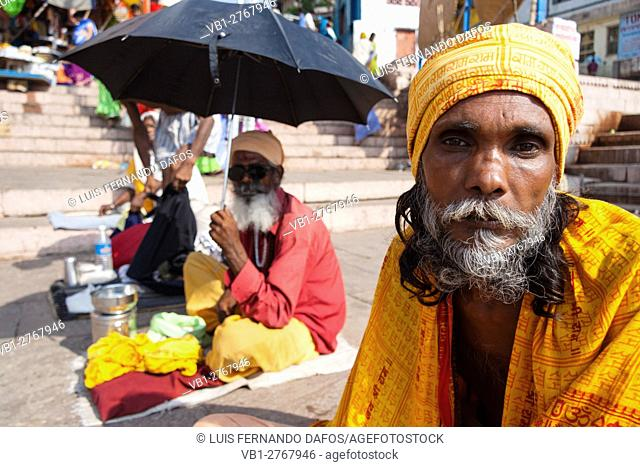 Portrait of sadhus in Varanasi, Uttar Pradesh, India, Asia