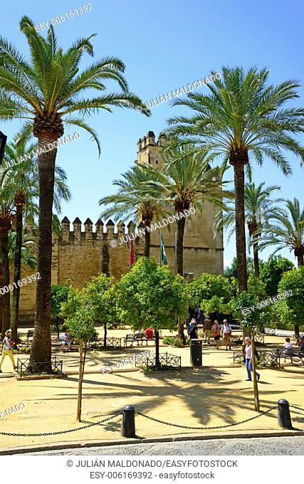 Exterior and facade of the Alcazar of Cordoba, Andalucía, Spain