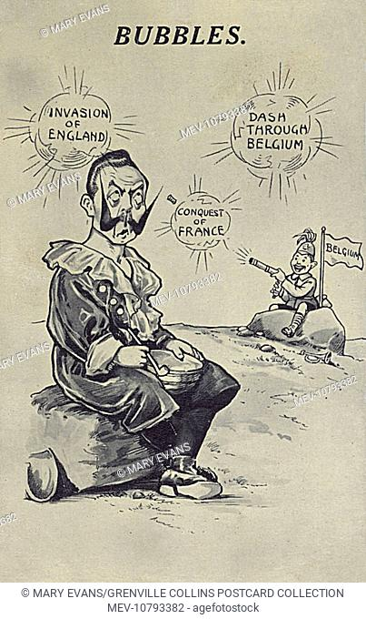 WWI - Propaganda postcard - The German Kaiser's dream bubbles are popping before his eyes. By this point however (late 1914)