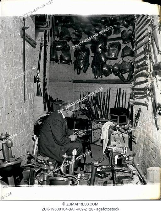 Feb. 24, 1968 - Inside The Royal Opera House: down in the Armoury expert Cyril Brashier re-models and repairs antique for use in the productions