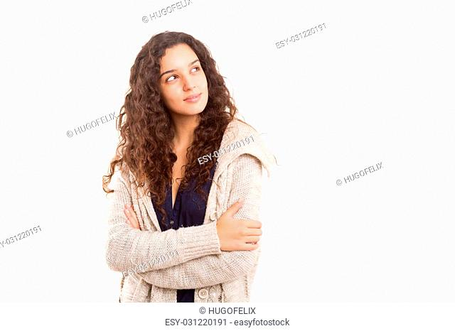 Studio shot: Young woman having a great idea