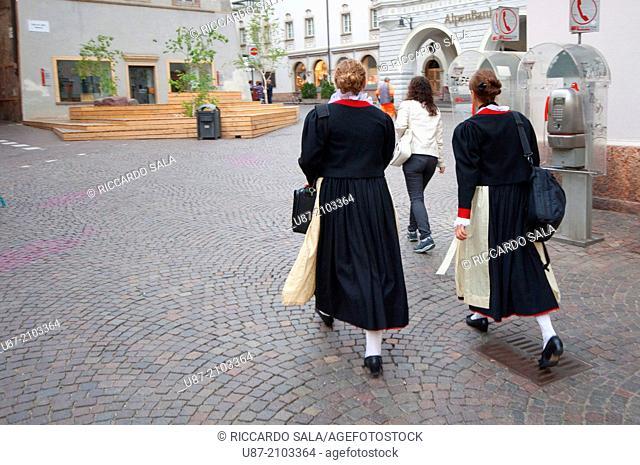 Italy, Trentino Alto Adige, South Tyrol, Bolzano, Bozen, Womans in Traditional Clothing