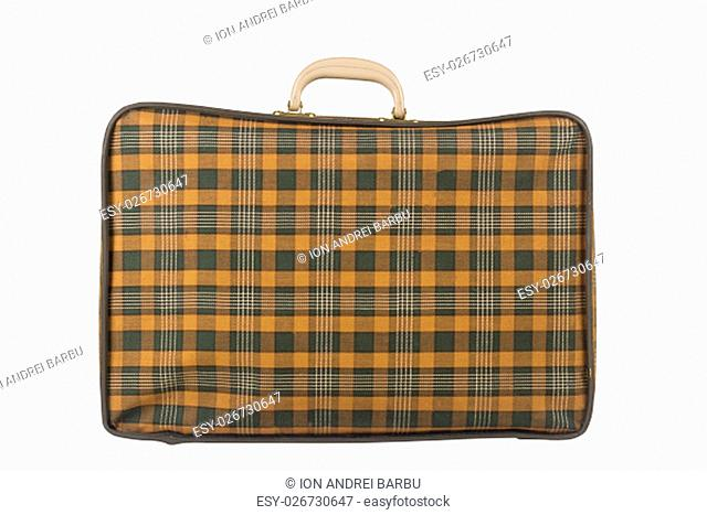Horizontal side view of an old yellow suitcase isolated on white background