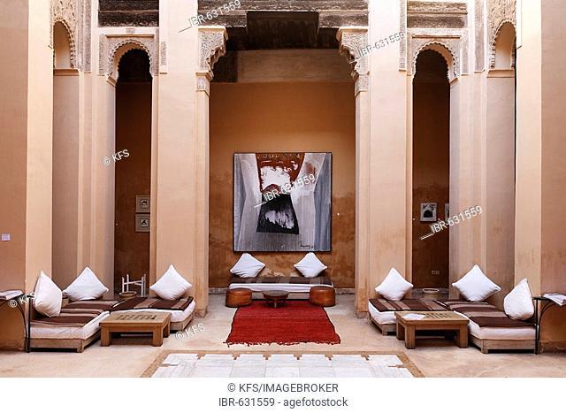 Patio of Riad Dar Charifa, literature café, Medina of Marrakech, Morocco, Africa