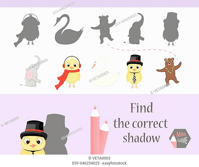 Find the correct shadow, education game for children. Cute Cartoon animals and Nature. vector illustration. elephant, bear, chicken, swan