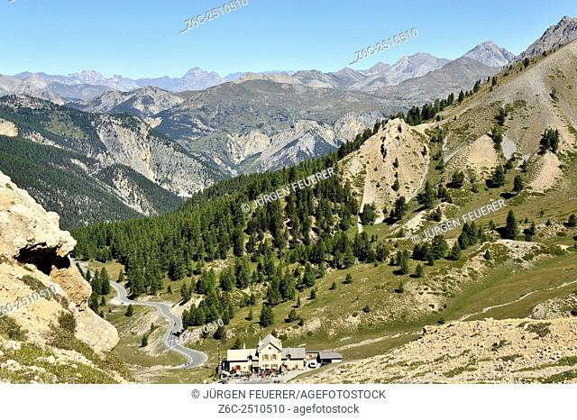Panorama view at Col d`Izoard with hostel Napoleon below the pass, Hautes-Alpes, French Alps, France