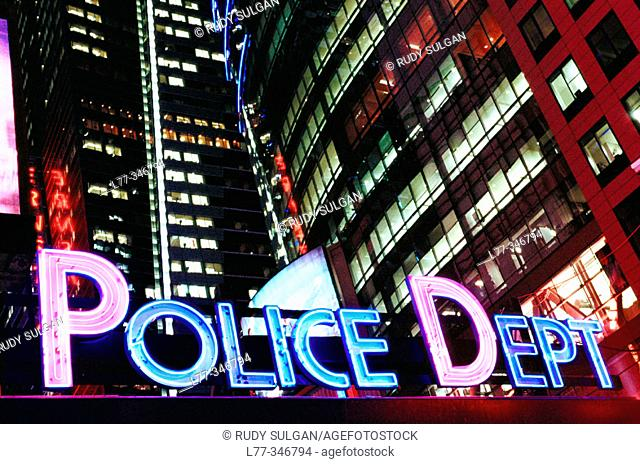 Police station on Times Square. New York City, USA