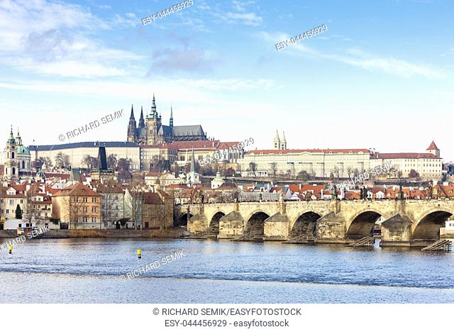 Hradcany with Charles bridge, Prague, Czech Republic