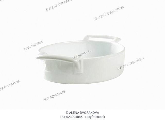 Deep oval porcelain baking dish