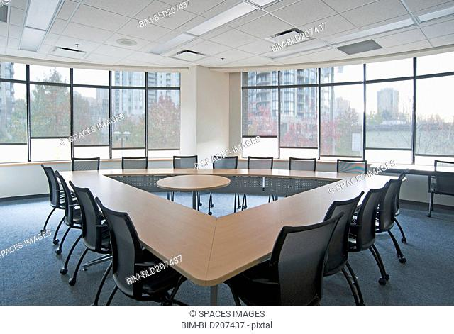 Triangle table in conference room