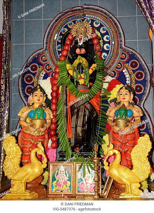 Statue of Lord Hanuman at a Tamil Hindu temple in Ontario, Canada. Hanuman is a Hindu deity, who is an ardent devotee of Rama