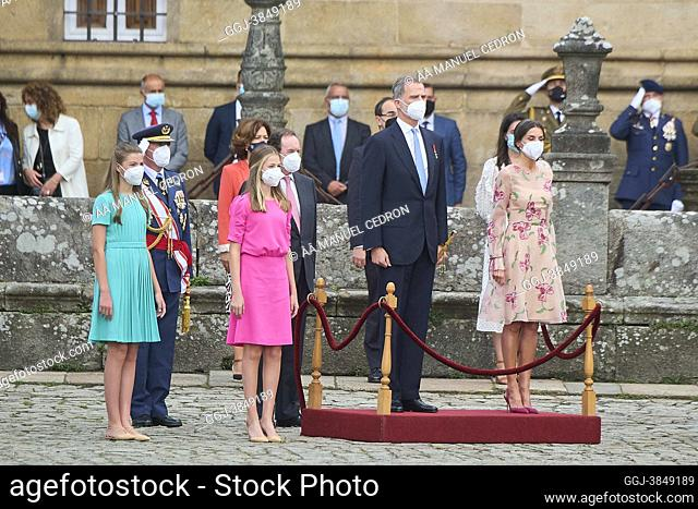 King Felipe VI of Spain, Queen Letizia of Spain, Crown Princess Leonor, Princess Sofia attends visit Santiago de Compostela and attend the Offering to the...