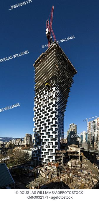 Vancouver House, a tower under construction in Vancouver, BC, Canada. Design by Bjarke Ingels