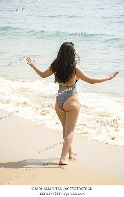 Rear view of a sexy woman wearing bikini standing on the beach