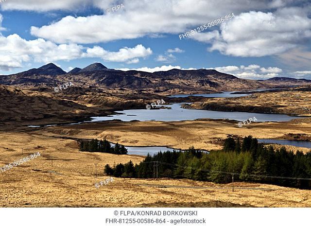 View of sea loch and mountain peaks, viewed from Beinn Sgaillinish, Loch Tarbert, Paps of Jura, Isle of Jura, Inner Hebrides, Scotland