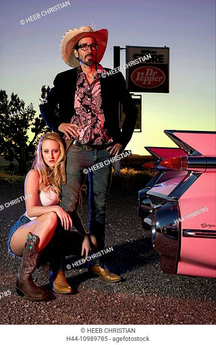 American Dreamscapes, Pink Cadillac, couple posing with Cadillac