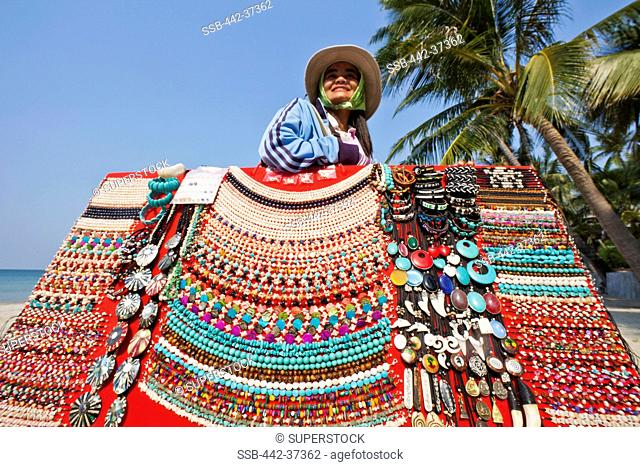 Thailand,Trat Province,Koh Chang,Beach Vendor Selling Jewellery