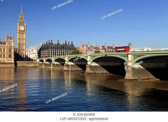 Big Ben and Westminster Bridge on an autumn morning