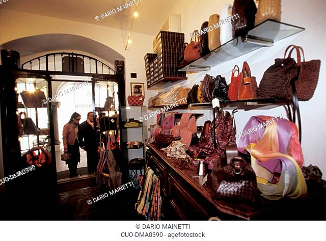 Silk products shop, Bellagio, Como lake, Lombardy, Italy