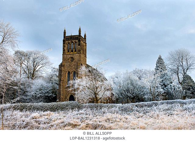 England, Leicestershire, Copt Oak. The church of St. Peter at Copt Oak surrounded by trees covered in hoar frost