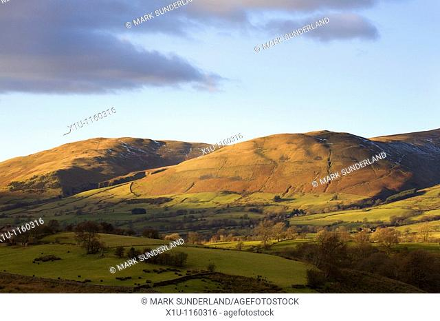 Winder and Crook Fells from Garsdale Howgill Fells Yorkshire Dales England