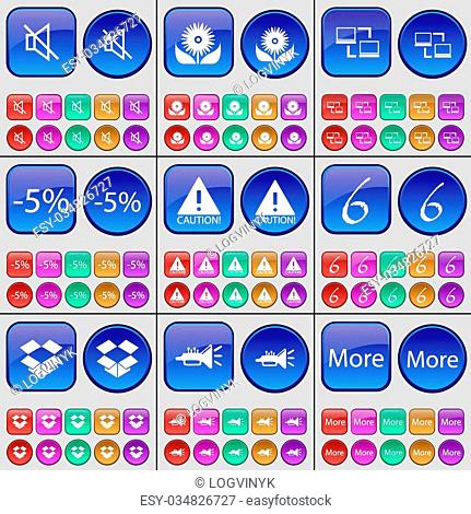 Mute, Flower, Network, Discount, Caution, Six, Box, Trumpet, More. A large set of multi-colored buttons. Vector illustration