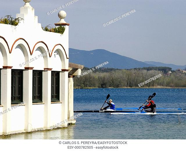Rowing on Lake Banyoles, Girona province, Catalonia, Spain
