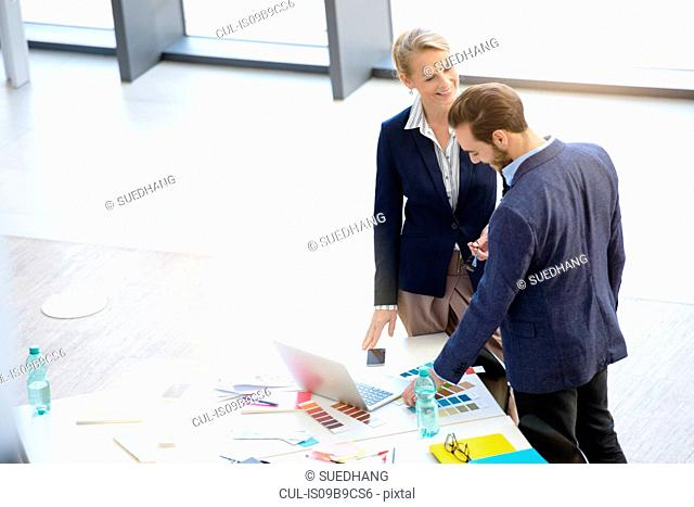 Businesswoman and man having discussion at office table