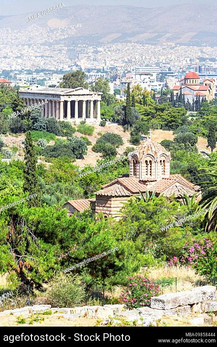 Temple of Hephaestus and the city of Athens, Athens, Greece