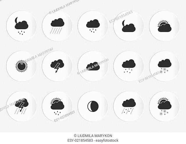Isolated Weather black Icons with White Background. Vector illustration EPS10