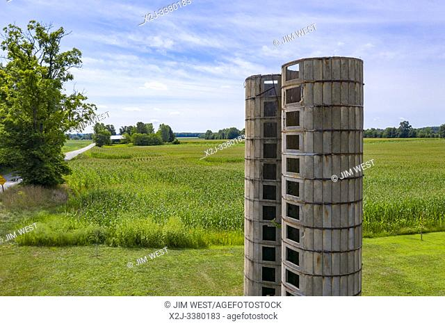 Three Oaks, Michigan - The remains of two old concrete silos on a Michigan farm