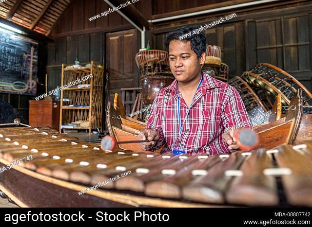 Cambodia, Battambang, Phar Ponleu Selpak, arts and circus school, musician and roneat, traditional Khmer xylophone, ER