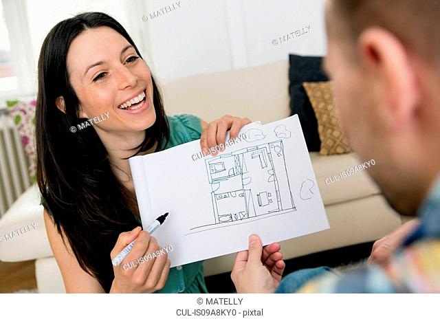 Mid adult couple sketching house plans