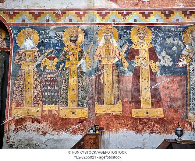 Pictures & images of the Byzantine fresco panels on the north wall of the Gelati Georgian Orthodox Church of the Virgin, 1106
