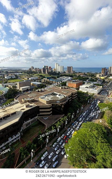 View of city of Durban or eThekwini. KwaZulu Natal. South Africa
