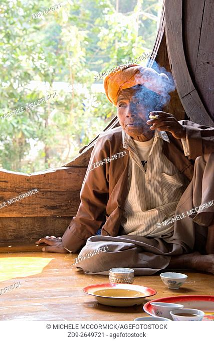 City elders gather at the temple for tea, talk and a smoke