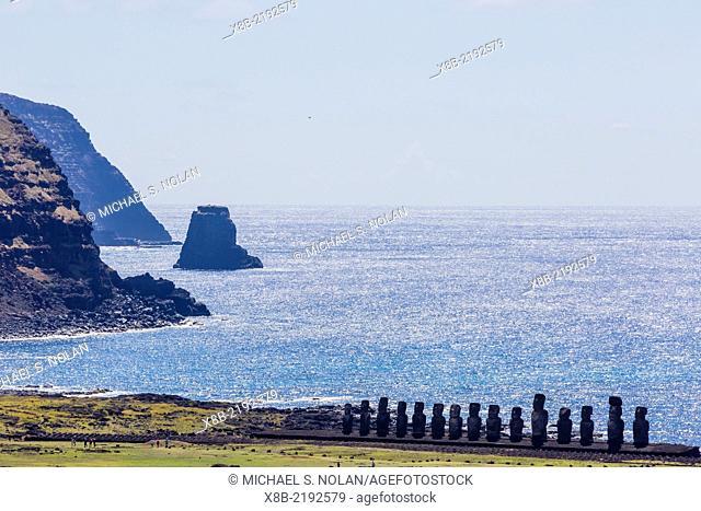 15 moai at the restored ceremonial site of Ahu Tongariki on Easter Island (Isla de Pascua, Rapa Nui), Chile