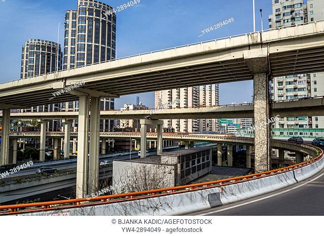 Highway interchange in the city's Huangpu district, just before the Lupu bridge, Shanghai, China