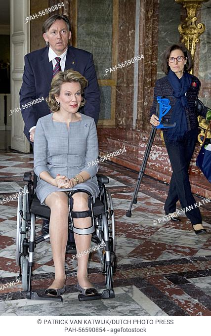 Queen Mathilde of Belgium attend the conference on financial literacy at the Egmont Palace in Brussels, Belgium, 11 March 2015