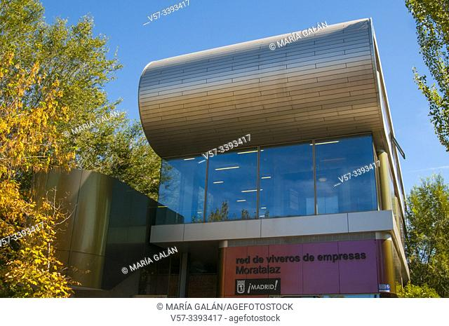 Facade of Design Center. Vivero de Empresas, Camino de los Vinateros street, Madrid, Spain