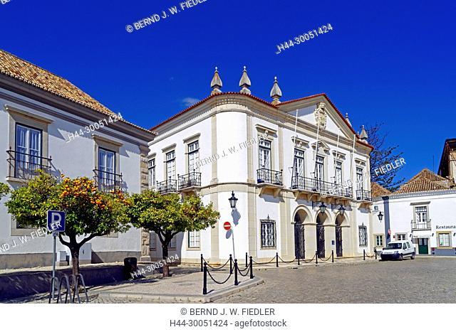 City hall, orange trees, Faro Portugal