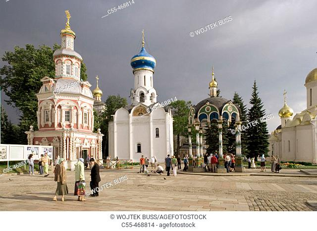 Godunovs' burial vault (1780), Chapel-over-the Well (1872) and Church of the Holy Ghost (1476-1477), Holy Trinity-St. Sergius Lavra (monastery), Sergiyev Posad