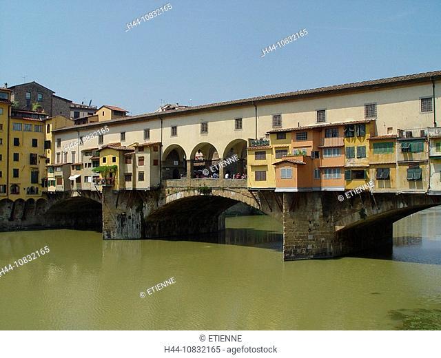 Italy, Europe, Tuscany, Toscana, Florence, Ponte Vecchio, Bridge, Landmark, Arno river