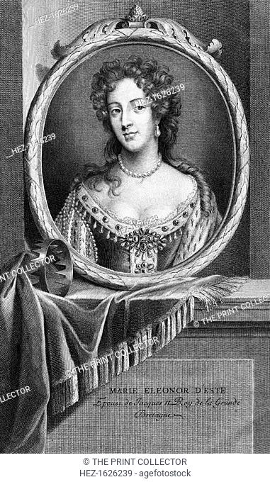 Mary of Modena, Queen Consort of King James II of Great Britain. Maria d'Este (1658-1718) was the second wife of James II