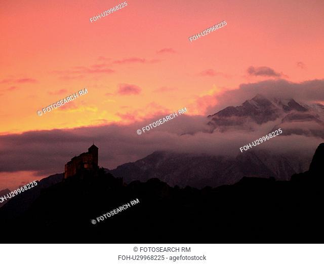 Switzerland, Europe, valais, wallis, Sion, Rhone Valley, Fendant Wine Region, Church of Notre Dame de ValFre, 11th century, sunset, alps